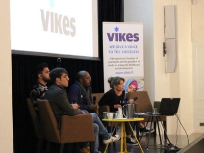 In a panel discussion, led by a Finnish journalist Jeanette Björkqvist, the former and current refugees discussed about the employment